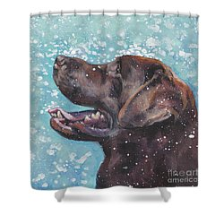 Shower Curtain featuring the painting Chocolate Labrador Retriever by Lee Ann Shepard