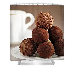 Chocolate Truffles And Coffee Shower Curtain by Elena Elisseeva