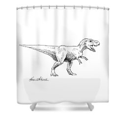 Tyrannosaurus Rex Dinosaur T-rex Ink Drawing Illustration Shower Curtain