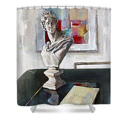 Chopin Shower Curtain by Becky Kim