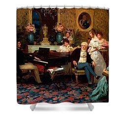 Chopin Playing The Piano In Prince Radziwills Salon Shower Curtain by Hendrik Siemiradzki