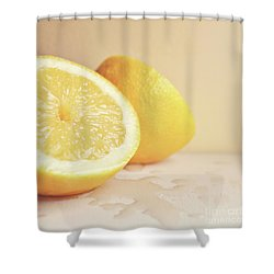 Shower Curtain featuring the photograph Chopped Lemon by Lyn Randle