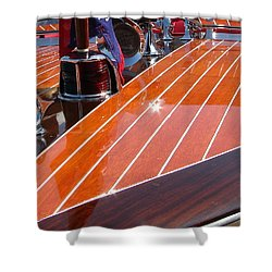 Chris Craft Bow Shower Curtain by Michelle Calkins