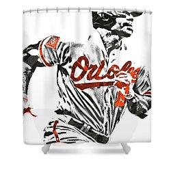 Shower Curtain featuring the mixed media Chris Davis Baltimore Orioles Pixel Art by Joe Hamilton