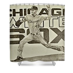 Shower Curtain featuring the drawing Chris Sale by Melissa Goodrich