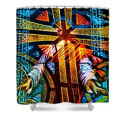 Christ And The Cross Shower Curtain by David Lee Thompson