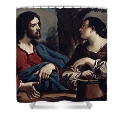 Christ And The Woman Of Samaria Shower Curtain by Giovanni Francesco Barbieri Guercino