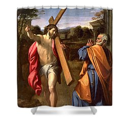 Christ Appearing To St. Peter On The Appian Way Shower Curtain by Annibale Carracci