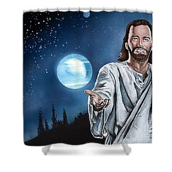 Christ At Night Shower Curtain by Bill Richards
