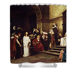 Christ Before Pilate Shower Curtain by Mihaly Munkacsy