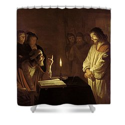 Christ Before The High Priest Shower Curtain by Gerrit van Honthorst
