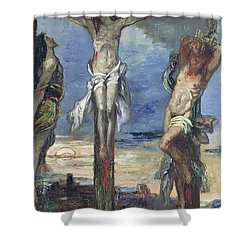 Christ Between The Two Thieves Shower Curtain by Gustave Moreau
