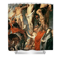 Christ Between The Two Thieves Shower Curtain by Peter Paul Rubens