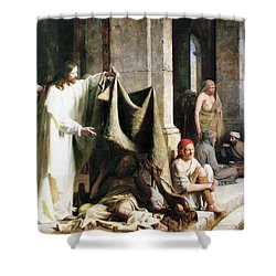 Christ Christ And The Man At The Healing Wel Shower Curtain