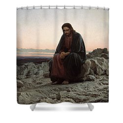 Shower Curtain featuring the painting Christ In The Desert by Ivan Kramskoi