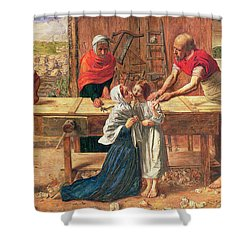 Christ In The House Of His Parents Shower Curtain by JE Millais and Rebecca Solomon