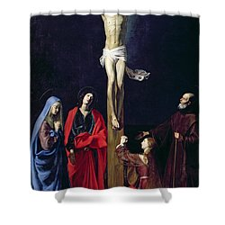Christ On The Cross With The Virgin Mary Magdalene St John And St Francis Of Paola Shower Curtain by Nicolas Tournier