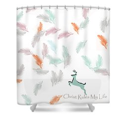 Shower Curtain featuring the digital art Christ Rules My Life by Trilby Cole