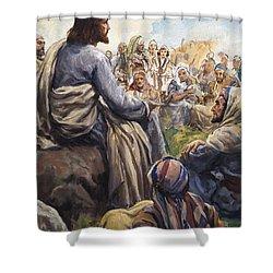 Christ Teaching Shower Curtain by English School