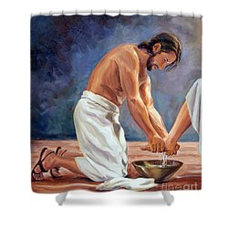 Christ The Servant Shower Curtain by Laura Bates