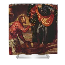 Christ Washing The Feet Of The Disciples Shower Curtain by Tintoretto