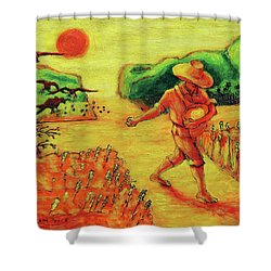 Shower Curtain featuring the painting Christian Art Parable Of The Sower Artwork T Bertram Poole by Thomas Bertram POOLE