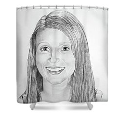 Shower Curtain featuring the drawing Christina by Mayhem Mediums