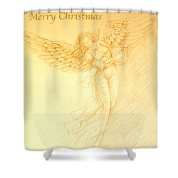 Christmas Angel With Harp Shower Curtain
