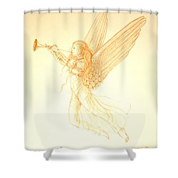 Christmas Angel With Trumpet Shower Curtain