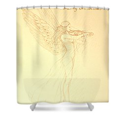 Christmas Angel With Violin Shower Curtain