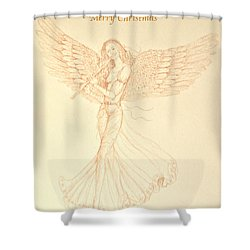 Christmas Angerl With Flute Shower Curtain