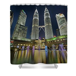 Christmas At Klcc Shower Curtain by David Gn