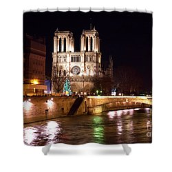 Christmas At Notre Dame Shower Curtain by John Rizzuto