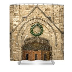 Christmas At Stone Chapel Shower Curtain