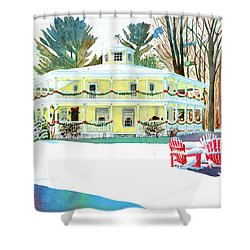 Christmas At The Hexagon House Shower Curtain by LeAnne Sowa