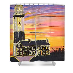 Christmas At The Lighthouse Shower Curtain