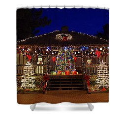 Christmas At The Lighthouse Gazebo Shower Curtain
