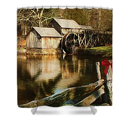 Shower Curtain featuring the photograph Christmas At The Mill by Darren Fisher