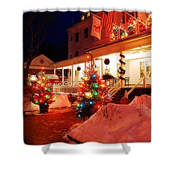 Christmas At The Red Lion Inn Shower Curtain by James Kirkikis