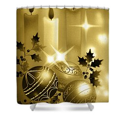 Christmas Balls And Candles Black And Gold Shower Curtain