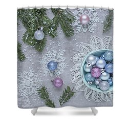 Shower Curtain featuring the photograph Christmas Baubles And Snowflakes by Kim Hojnacki