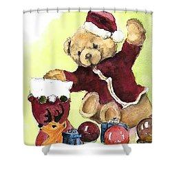 Christmas Bear Shower Curtain