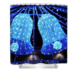 Christmas Blue Bells Shower Curtain