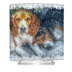 Christmas Brothers Shower Curtain by Amanda Eberly-Kudamik