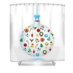 Christmas Bulb Art And Greeting Card Shower Curtain