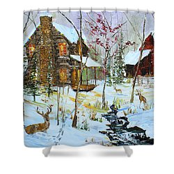 Christmas Cabin Shower Curtain