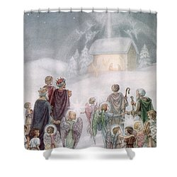 Christmas Card Shower Curtain by Daphne Allan