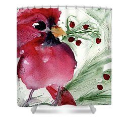 Shower Curtain featuring the painting Christmas Cardinal by Dawn Derman