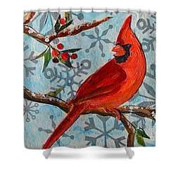 Shower Curtain featuring the mixed media Christmas Cardinal by Li Newton