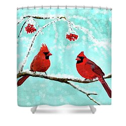 Shower Curtain featuring the painting Christmas Cardinals by Leslie Allen